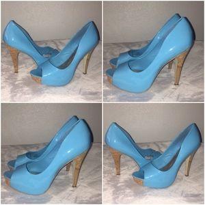 Bright Blue Jessica Simpson Peeptoe Heels 9.5